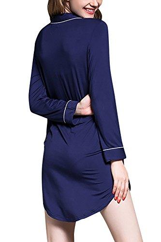 Dolamen Camisón para mujer, Mujer Camisones Camisa de dormir, Nightdress, Lounging Modal Algodón Top Loose Lencería Camisón Collar con bolsillo con botones Azul