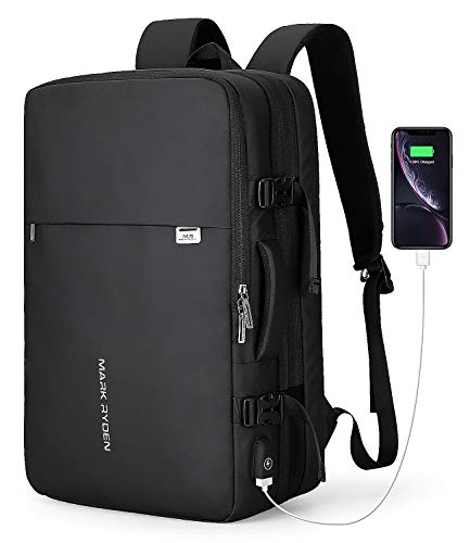MARK RYDEN 23L/40L Business Carry-on Travel Backpack, Lightweight Flight-Approved Expandable Weekender Bag with USB Charging Port fit 17.3 Laptop