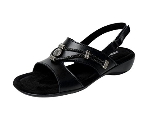 Minnetonka Womens Sylvia Sandal, Black Leather, Size 8