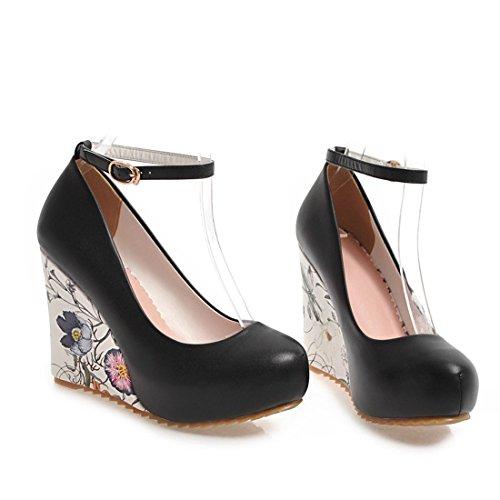 YE Damen Keilabsatz Pumps Knöchelriemchen High Heels Plateau mit Blumen Absatz Elegant Schuhe Schwarz