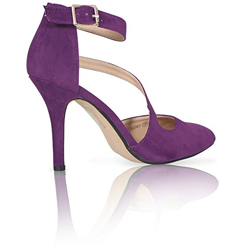 WOMENS LADIES SEXY POINTED TOE ANKLE STRAP HIGH HEEL PUMPS COURT PARTY SHOES Purple Suede r8DYXX3jHv