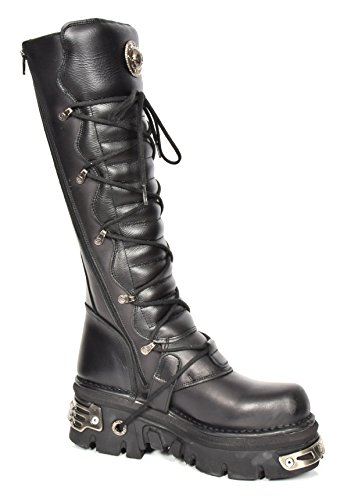 up Leather Leather Knee House Boots Length Black Of Platform New Feature Buckle Lace Ladies Rock Aqvaw4v