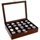 Porta-Relógios Total Luxo Madeira Maciça 20 Divisórias