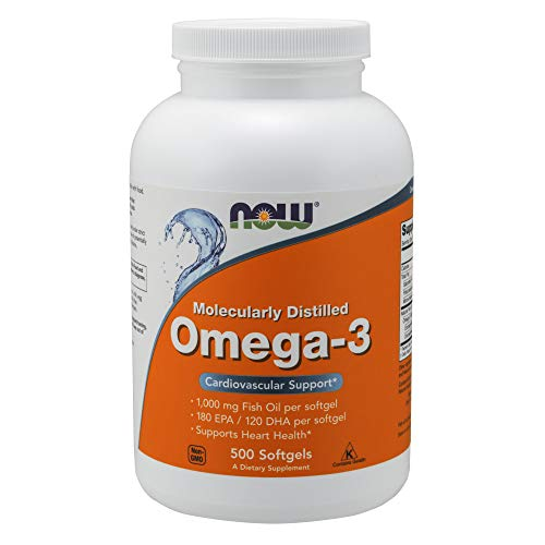 (Now Supplements, Omega-3, Molecularly Distilled, 500 Softgels)