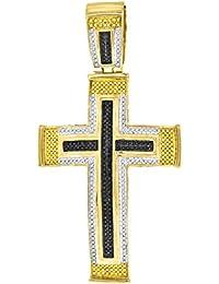 1.04 Carat Mens Black Yellow & White Micro-Pave Diamond Cross Pendant