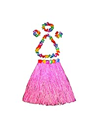 Ying Hula Dancer Grass Skirt Set for Womens & Girls, Elastic Luau Grass Skirt and Hawaiian Flower Bracelets Headband Necklace