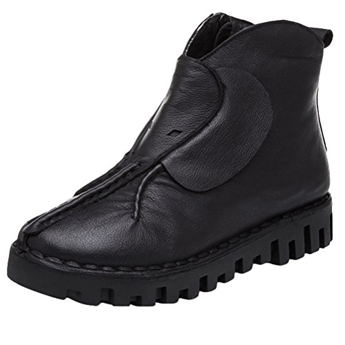 Women's Round Toe Flat Ankle Boots Casual Shoes - 4