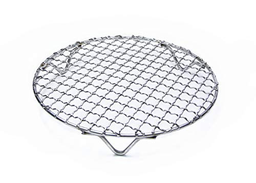 goldblue Carbon Baking Net Multi Purpose Round Stainless Steel Cross Wire Steaming Cooling Barbecue Rack with 3 Legs - Heavyweight Roast Pan