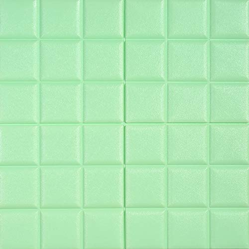 - YANGMAN 3D Wall Panels Foam Self Adhesive Wallpaper Waterproof Sound Insulation Wall Stickers for Home Decoration and House Renovation, 60x60 cm, Light Green,40pack154.8sq.ft