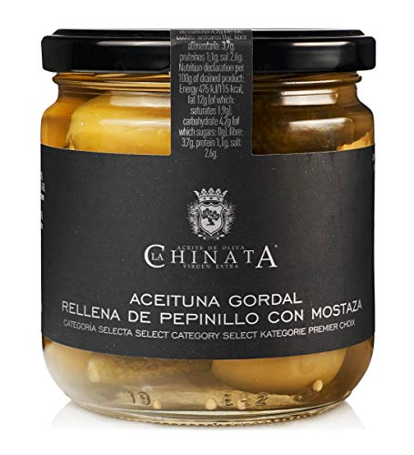Aceituna Gordal Rellena de Pepinillo con Mostaza – La Chinata (340 g)