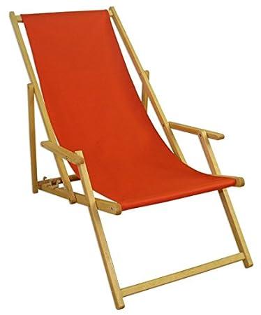 Erst Holz Liegestuhl Terracotta Buche Hell Klappbar Sonnenliege Relaxliege  Strandstuhl Klappstuhl 10 309 N
