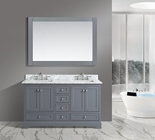 "Urban Furnishing - Jocelyn 60-Inch (60"") Bathroom Sink Vanity Set with White Italian Carrara Marble Top - Charcoal - Italian Carrara Marble top with matching backsplash Solid wood construction (no MDF, aka particle board) with Brushed nickel hardware Matching framed mirror and double Rectangular undermount sink - bathroom-vanities, bathroom-fixtures-hardware, bathroom - 41fONSd23rL -"