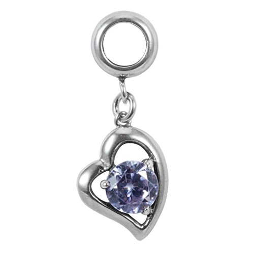 Sterling Silver Charm Heart Love June Birthstone Charm Swarovski Crystal for European Charm Bracelets (Swarovski Crystal Heart Charm)