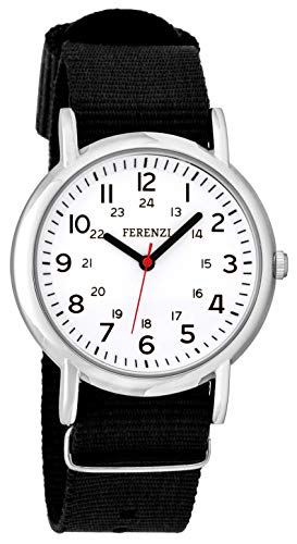 FERENZI Unisex | Casual Silver-Tone and Black Canvas Strap Big Number Watch | ()