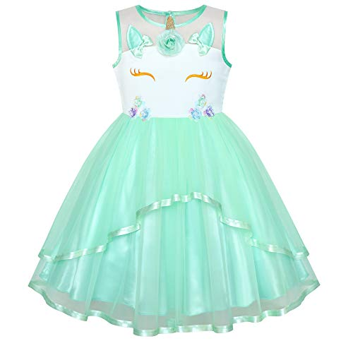 Girls Dress Unicorn Pageant Holiday Green Tutu Princess 8 ()