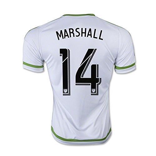 若さ個人合図MARSHALL #14 Seattle Sounders FC Away Soccer Jersey 2015-16(Authentic name & number) /サッカーユニフォーム シアトル?サウンダーズFC アウェイ用