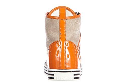 Hogan Rebel scarpe sneakers alte donna in camoscio nuove r182 rebel vintage zip