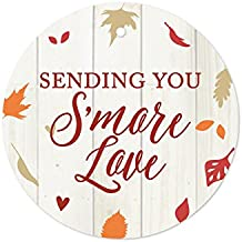 Andaz Press Fallin' in Love Autumn Fall Leaves Wedding Party Collection, Round Circle Gift Tags for S'more Favors, Sending You S'more Love, 24-Pack