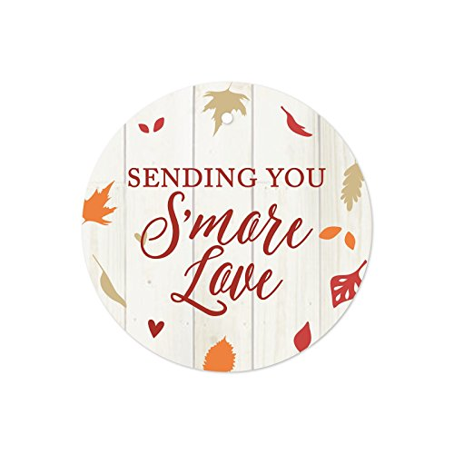 Andaz Press Fallin' in Love Autumn Fall Leaves Wedding Party Collection, Round Circle Gift Tags for S'more Favors, Sending You S'more Love, 24-Pack ()