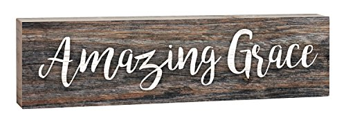 Amazing Grace Script Design Distressed 2 x 6 Inch Solid Pine Wood Paul Bunyan Toothpick Sign (Amazing Grace Wall)