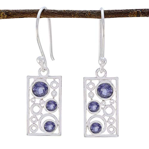 RGPL Good Gemstones Faceted Iolite Earrings - 925 Silver Nevy Blue Iolite Good Gemstones Earring - Nice Jewelry Nice Item Gift for Independence Day Dainty - Iolite Gemstone