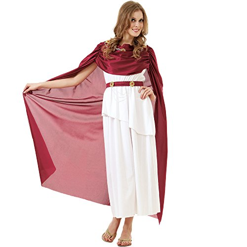 Ladies Toga Costumes (Roman Empress Women's Halloween Costume Olympic Queen Goddess Caesar Toga Dress)