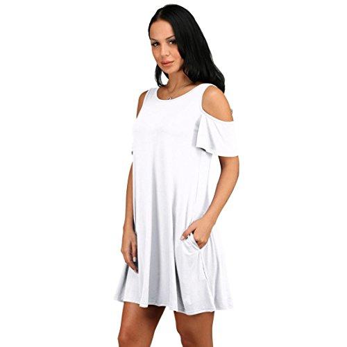 Vestido De Las Mujeres, Ularma Mujer Verano Algodón Suelto Sólido Fuera De Hombro Casual Vestido De Mini Vestido Blanco