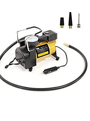 AutoVirazh Portable Black Pump: 12V Electric Car Tire Inflator with Pressure Gauge-Small Compressor Tanks with 3 Foot Hose & 3 Universal Nozzle Adapters for Automobiles, Bike Tires & Inflatables
