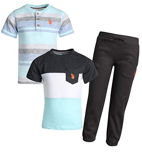 U.S. Polo Assn. Boy\'s 3-Piece Fashion Knit Top and Pant Set (Light Blue/Grey, 7)' ()