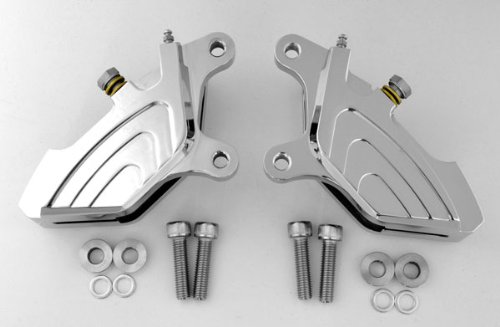 Set 2 Front Chrome Billet 4-Piston Custom Brake Calipers Harley Touring Dresser Bagger