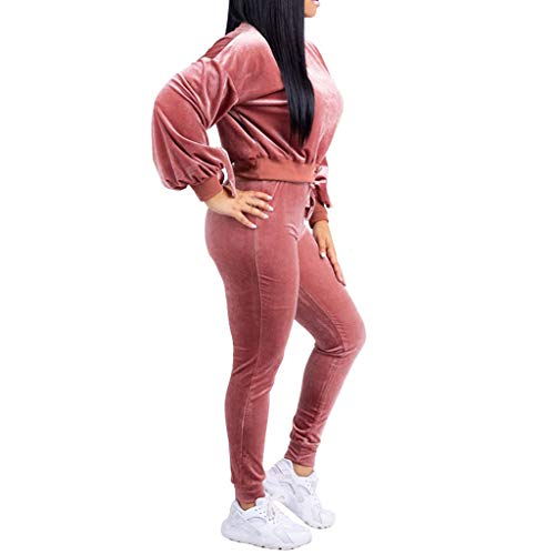 Womens Two Piece Outfits Velvet Long Sleeve Pullover Sweatshirt Tops Lace Up Long Pants Set Sweatsuits 2019 Casual Tracksuits Set