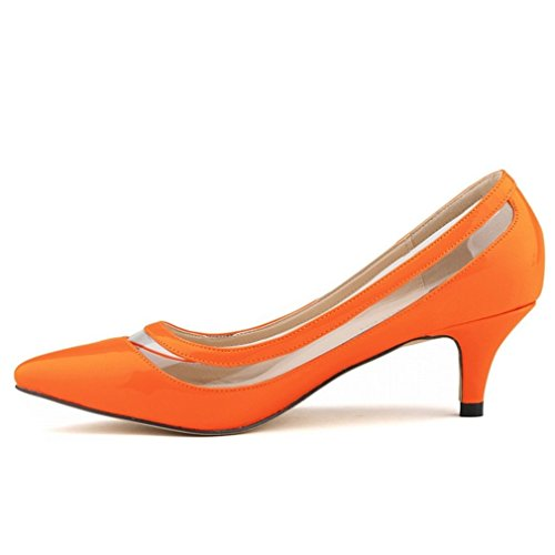 Shoes Kitten Office Pumps Heels Orange Work Women's SAMSAY Dress v5gf0Rvq