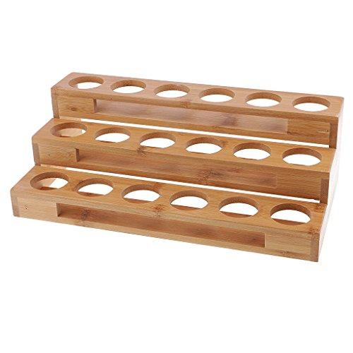 Baosity 18 Slots Essential Oil Wooden Rack Tray Organizer - 3 Tiers Storage Case -