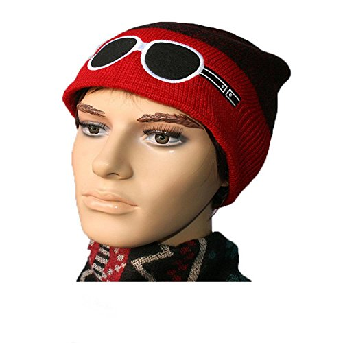 Thick Lined Hat Invierno negro al Soft bordado libre Knitting esquí de gorro red GlassesDaily Warm aire q1wCEXC5