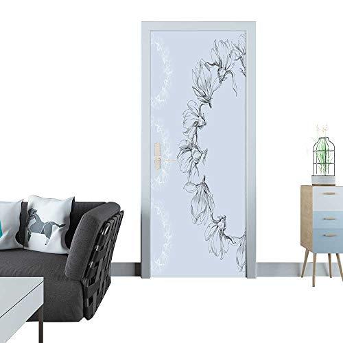 - Anmaseven Glass Door Sticker Decals Magnolia Flowers Wreath Card 3D Door Sticker 35x83(90x210 cm)