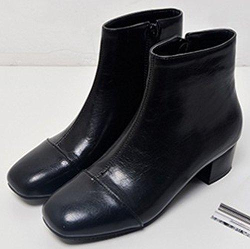 Easemax Women's Elegant Zip Up Mid Block Heel Square Toe Short Ankle High Booties Black 1qXRQ6