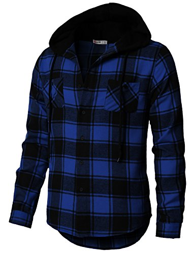 H2H Mens Casual Slim Fit Plaids Flannel Shirts Hoodie Jacket Blue US M/Asia L (CMOJA0105)