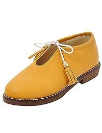 RAZAMAZA Girls School Shoes Classic Lace Up Dress Low Flat Heels