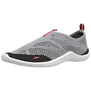 Speedo Kids' Surf Knit Athletic Water Skate Shoe, Grey/Neon Pink, 4 D US Big Kid