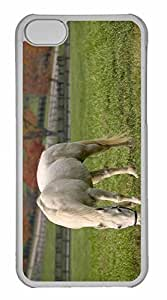 iPhone 5C Case, Personalized Custom White Horse Grazing for iPhone 5C PC Clear Case