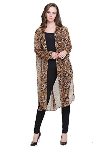 Jeasona Women's Plus Size Leopard Print Chiffon Open Front Long Blouse Cardigan