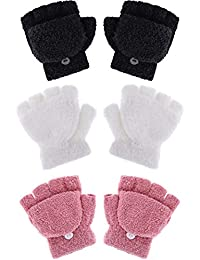 Kids Gloves Full Fingers Knitted Gloves Warm Mitten Winter Favor for Little Boys and Girls (Color Set 10, 4-12 Years Size, 3 Pairs)
