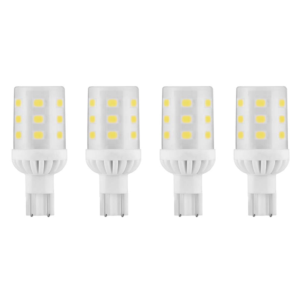 Makergroup T5 T10 Wedge Base LED Light Bulbs 12VAC/DC 3Watt Warm White 2700K-3000K for Outdoor Landscape Lighting Deck Stair Step Path Lights and Automotive RV Travel Tailer Lights 4-Pack