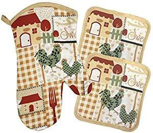Home Sweet Home And Rooster 7 Piece Kitchen Linen Bundle Package Oven Mitt (1) Pot Holder (2) Kitchen Towel (2) Dishcloths (2) (#4327)