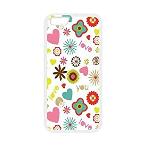 IPhone 6 Plus Cases Love Floral Pattern, IPhone 6 Plus Cases Floral Texture Hardshell For Girls, [White]