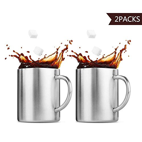 jianchi Stainless Steel Mug, Camping Travel Cups, Double Wall, Wine/Coffee/Tea, Set of 2,Silver