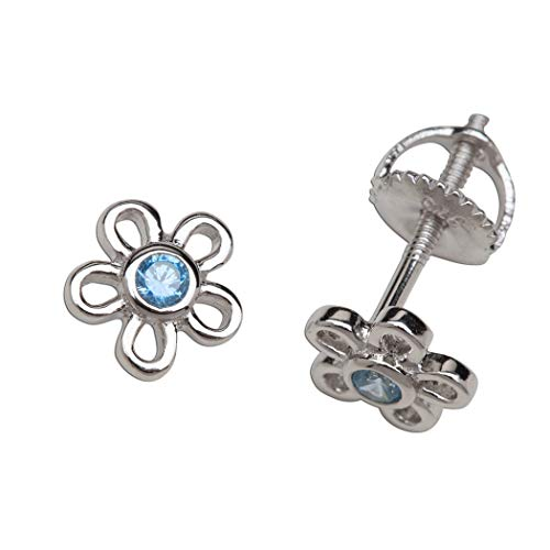Girls' Sterling Silver CZ Simulated March Birthstone Daisy Earrings with Screw Back (6mm) (Baby Earrings Birthstones March)