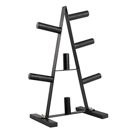 PAPABABE Olympic Weight Plate Rack Weight Plate Tree 2 inch for Bumper Plates Free Weight Stand
