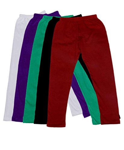 IndiWeaves Girl's Super Soft Cotton Leggings Combo Pack of 5_Size : 3-5 Years
