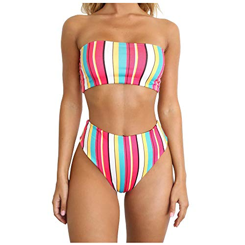 LICKLIP Rainbow High Leg Bikini Set High Waist Cut Strapless Stripe Bandeau Padded Two Pieces (Rainbow, M(US 4-6))